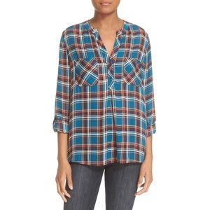 JOIE Nelia Plaid Silk Top Blouse Deep Marine jewel